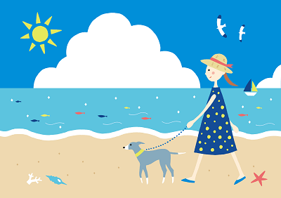 犬関西カヌーイラスト2-400。関西,兵庫,淡路島,カヌー,犬,愛犬,カヤック予約,アクティビティ,体験