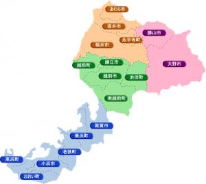 福井犬連れ観光旅行福井県市町村図